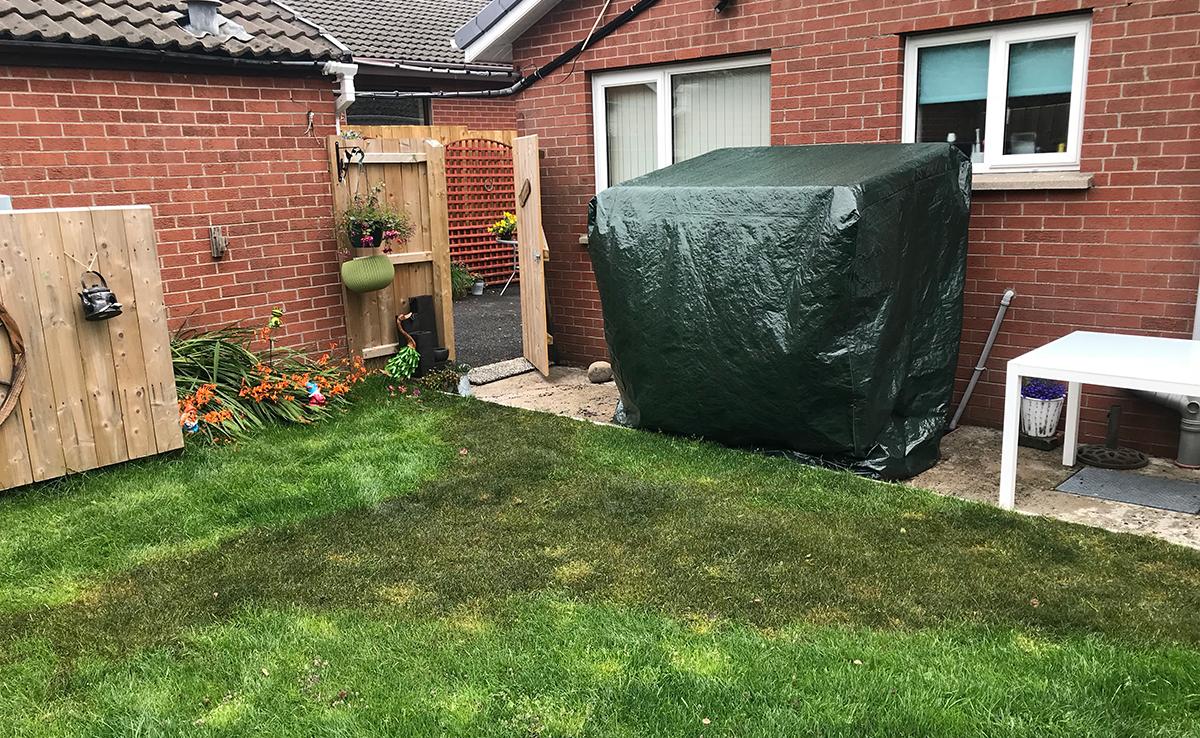 oil spill in garden
